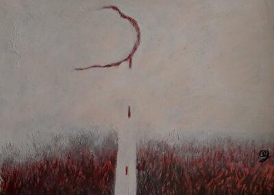 Bleed, 2020. Acrylic. 28.2x36.8cm.