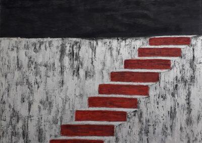Climb, 76x92cm. Oil, graphite, silver pearlescent pigment, resin on canvas.