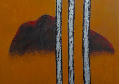 Glimpse, 76x92cm. Oil, silver pearlescent pigment, graphite, resin on canvas.
