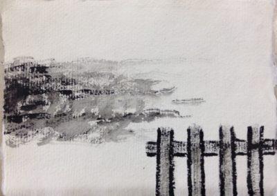Flood, 11x15cm. Acrylic on paper.