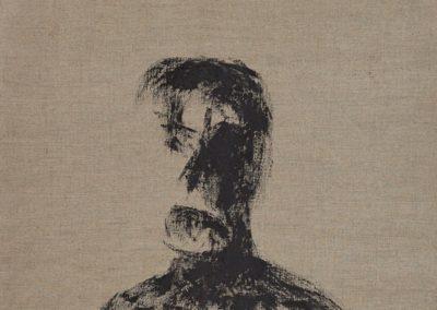 Head 9. Black pigment, resin on canvas. 75x60cm