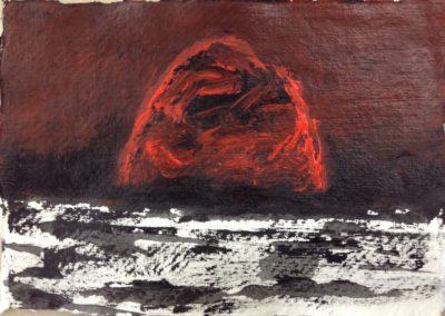 Heat, 11x15cm acrylic on paper.
