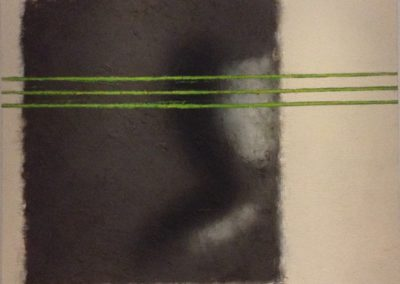 Peering. Oil, graphite pigments, resin on canvas. 90x110cm.