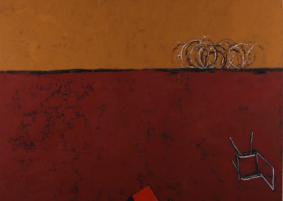 Quarrel. Oil, pigment, resin on canvas. 150x180cm.