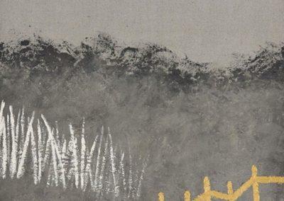 Shifts. Oil, concrete dust, resin on canvas. 80x100cm.
